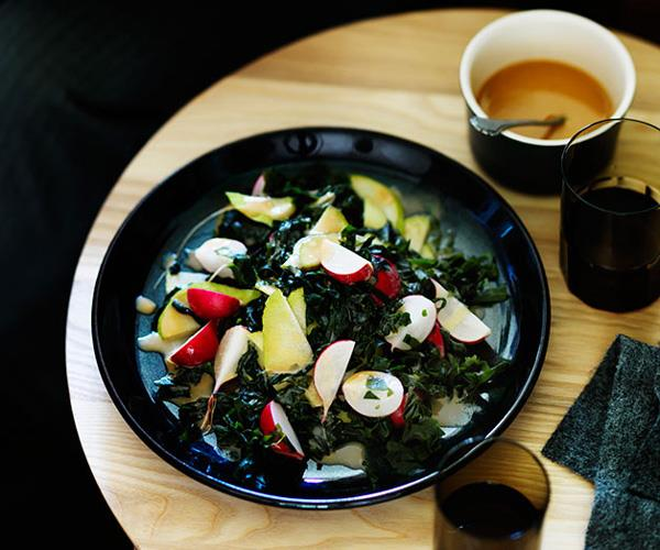 Radish, pear and seaweed salad with miso dressing