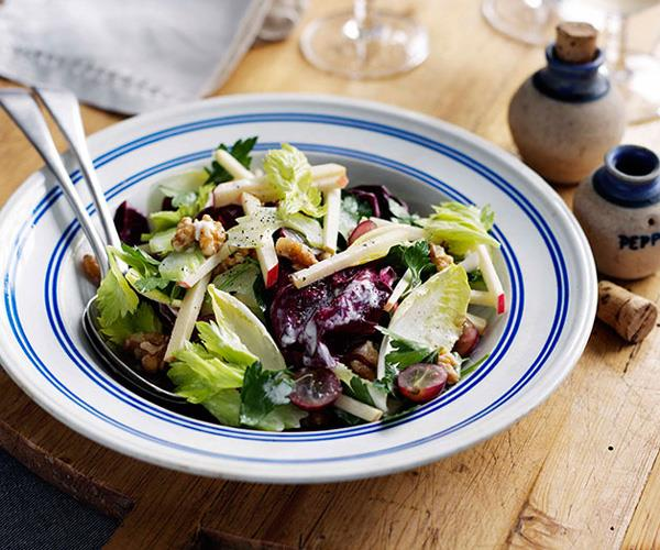 "**[Waldorf salad](https://www.gourmettraveller.com.au/recipes/browse-all/waldorf-salad-8714|target=""_blank"")**"