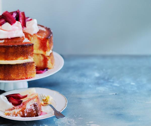 Lemon sour-cream cake with roast rhubarb