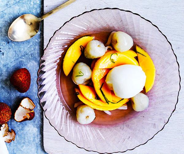 """**[Lychee and mango with lime-coconut syrup and lemon gelato](https://www.gourmettraveller.com.au/recipes/browse-all/lychee-and-mango-with-lime-coconut-syrup-and-lemon-gelato-12428