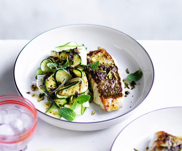 """**[Sicilian snapper with zucchini, mint and pistachio nuts](https://www.gourmettraveller.com.au/recipes/fast-recipes/sicilian-snapper-with-zucchini-mint-and-pistachio-nuts-13863