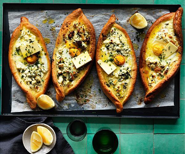 "**[Khachapuri](https://www.gourmettraveller.com.au/recipes/browse-all/khachapuri-12776 target=""_blank"")**"