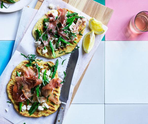 Prosciutto, asparagus and ricotta on grilled flatbreads