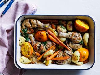 Chicken, carrot and orange tray bake with chive butter