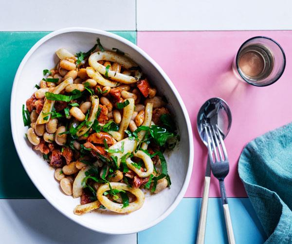 "**[Braised beans with chorizo and calamari](https://www.gourmettraveller.com.au/recipes/fast-recipes/braised-beans-chorizo-calamari-17905|target=""_blank"")**"