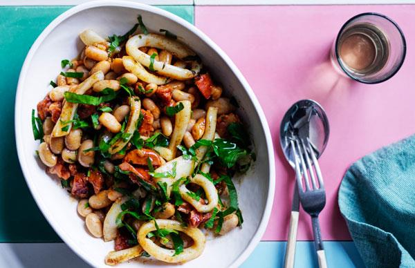 Braised beans with chorizo and calamari
