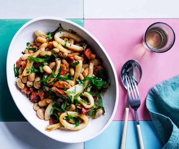Braised beans with chorizo and calamari