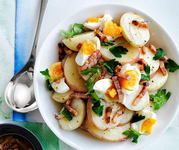 Potato salad with bacon and egg vinaigrette