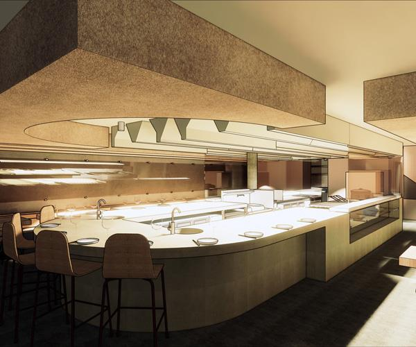 A rendering of Same Same's kitchen and dining room