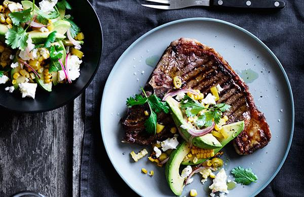 T-bones with pickled chilli, corn and avocado