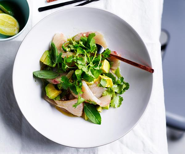"[**White fish crudo with avocado, herbs and cucumber-lime dressing**](https://www.gourmettraveller.com.au/recipes/browse-all/white-fish-crudo-with-avocado-herbs-and-cucumber-lime-dressing-12656|target=""_blank"")"