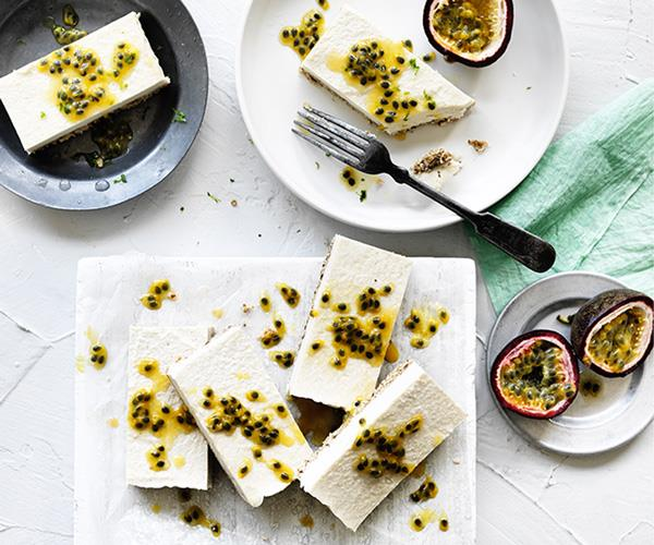 "**[Passionfruit coconut slice](https://www.gourmettraveller.com.au/recipes/browse-all/passionfruit-coconut-slice-12713|target=""_blank"")**"