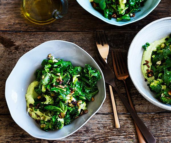 "**[Ultra-green chopped salad](https://www.gourmettraveller.com.au/recipes/fast-recipes/ultra-green-chopped-salad-13666 target=""_blank"")**"
