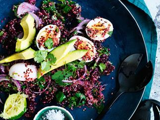 Smashed beetroot, quinoa, egg and avocado salad