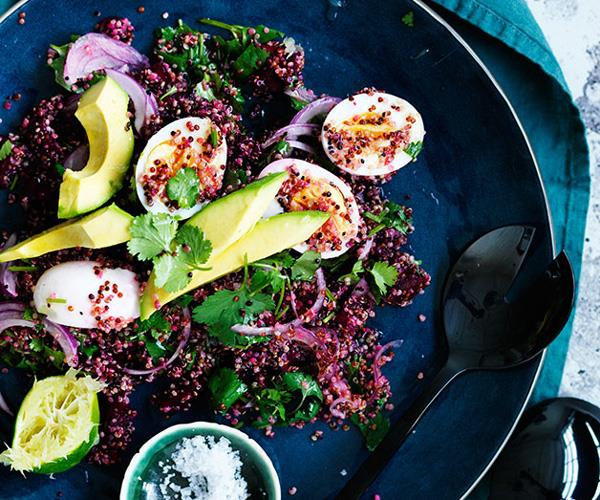 Smashed beetroot, quinoa, egg and avocado salad