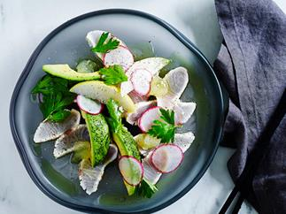 Seared kingfish with radish, avocado and wasabi