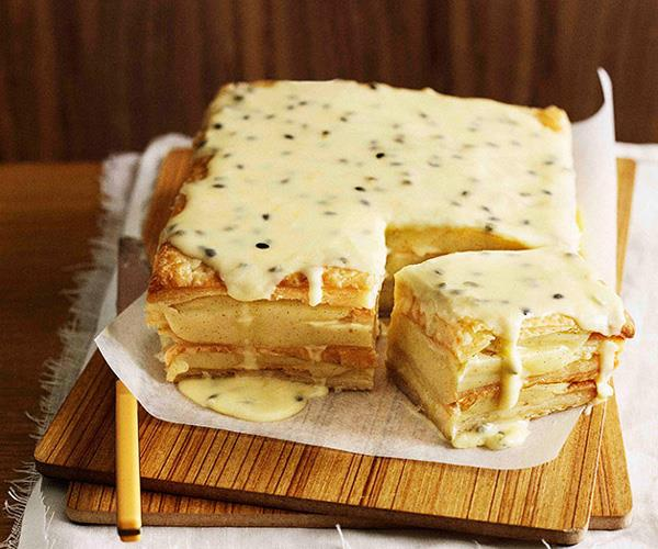 "**[Passionfruit vanilla slice](https://www.gourmettraveller.com.au/recipes/browse-all/passionfruit-vanilla-slice-9859|target=""_blank""
