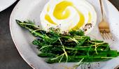 Fleet's grilled asparagus with sheep's-milk labne