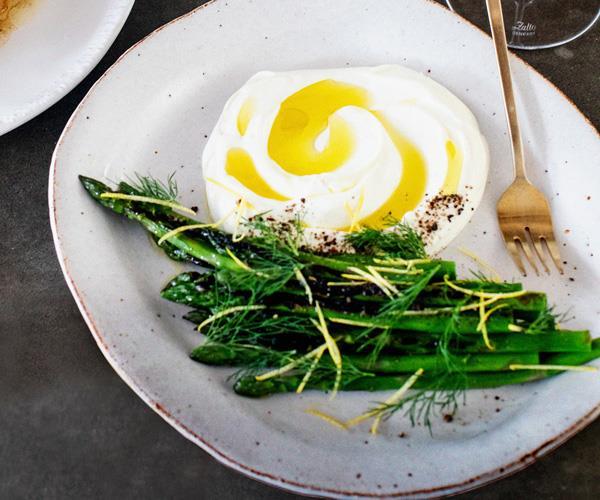 "**[Fleet's grilled asparagus with sheep's-milk labne](https://www.gourmettraveller.com.au/recipes/chefs-recipes/grilled-asparagus-labne-16866 target=""_blank"")**"