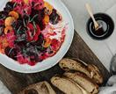 Analiese Gregory's roasted beetroot with bottarga and crème fraîche
