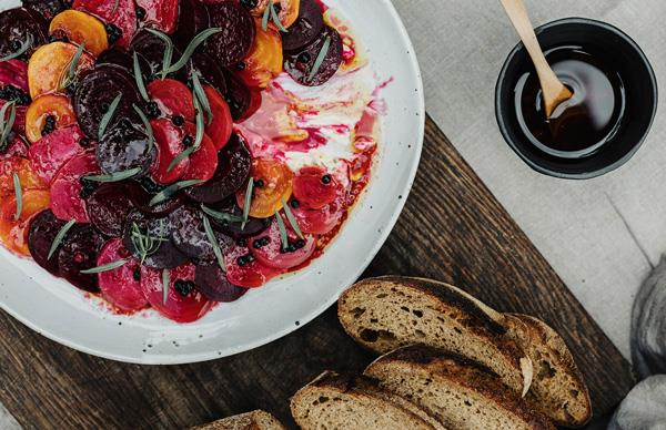 Roasted beetroot with bottarga and crème fraîche