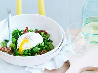 Broad bean, crisp pancetta and poached egg salad