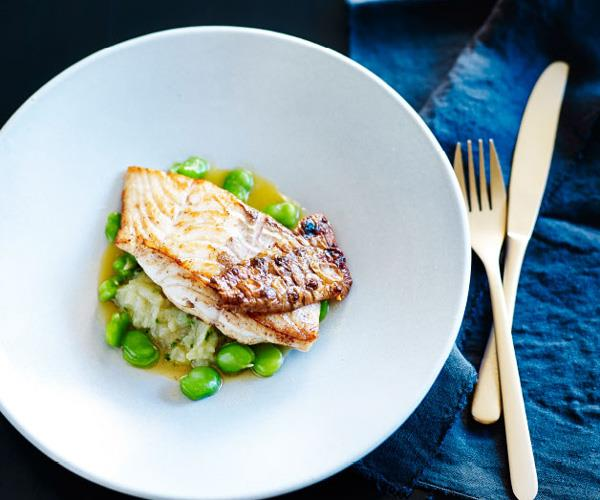Blue-eye trevalla with Jerusalem artichokes, broad beans and chicken jus