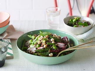 Lentil, mint and broad bean salad