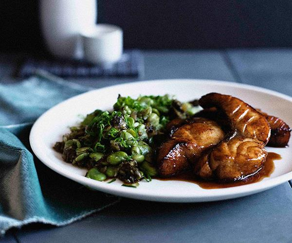 Five-spiced 'smoked' fish with broad bean salad