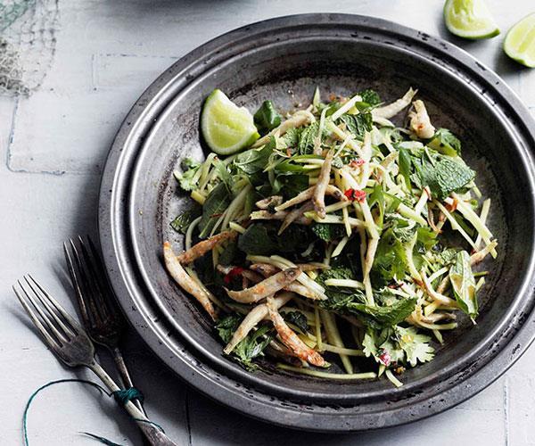 "[**Crisp chilli whitebait and green mango salad**](https://www.gourmettraveller.com.au/recipes/browse-all/crisp-chilli-whitebait-and-green-mango-salad-10838 target=""_blank"")"