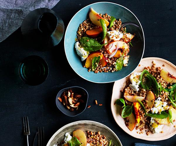 "**[Peach, mozzarella and fregola salad](https://www.gourmettraveller.com.au/recipes/browse-all/peach-mozzarella-and-fregola-salad-12673|target=""_blank"")**"