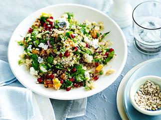 Quinoa salad with pomegranate, pumpkin and ashed goat's cheese