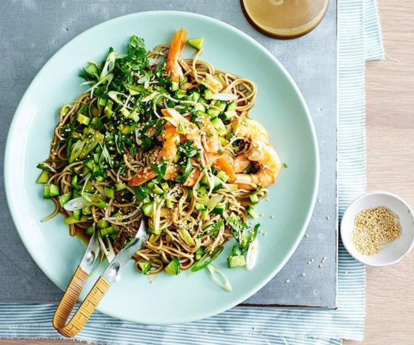 "**[Prawn and soba noodle salad with sesame-ginger dressing](https://www.gourmettraveller.com.au/recipes/fast-recipes/prawn-and-soba-noodle-salad-with-sesame-ginger-dressing-13534|target=""_blank"")**"