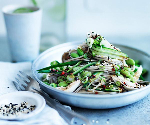 "**[Chicken with chilled noodles, cucumber and Sichuan-vinegar dressing](https://www.gourmettraveller.com.au/recipes/fast-recipes/sichuan-chicken-salad-with-chilled-noodles-and-cucumber-13775|target=""_blank"")**"