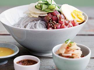 Dang myun noodles with raw tuna and kimchi daikon