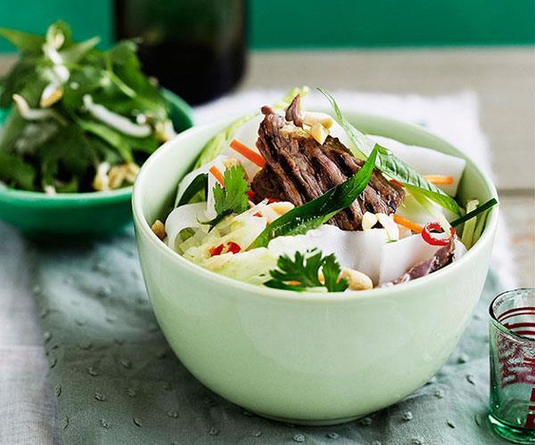 Vietnamese lemongrass beef and rice noodle salad