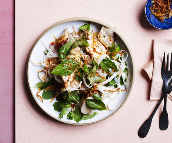 Grilled chicken and rice noodle salad