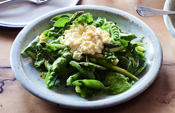 Beans, peas, asparagus and fresh curd