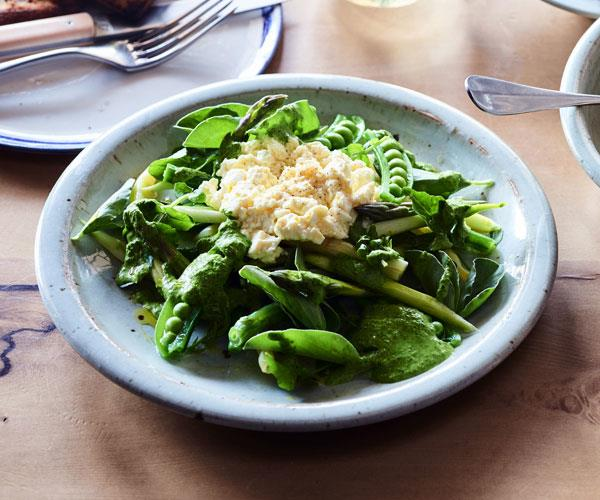 Beans, peas, asparagus and fresh curd