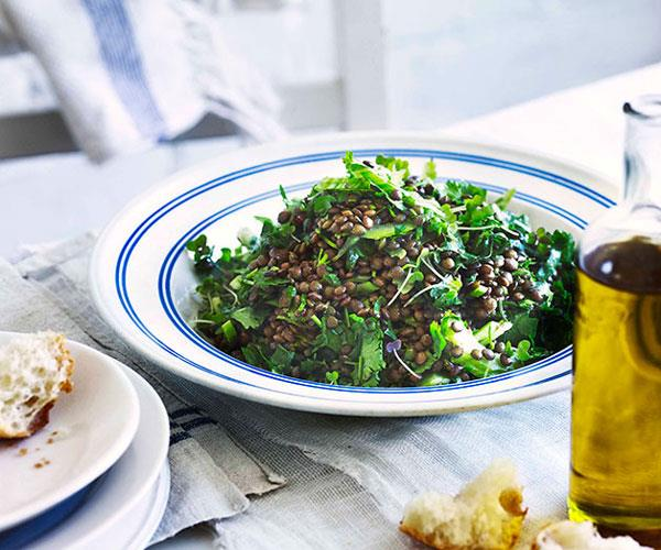 "[**Lentil and coriander salad**](https://www.gourmettraveller.com.au/recipes/chefs-recipes/george-calombaris-lentil-and-coriander-salad-7628 target=""_blank"")"