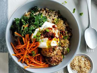 Crisp rice bowls with pork, egg, kale and marinated carrot recipe
