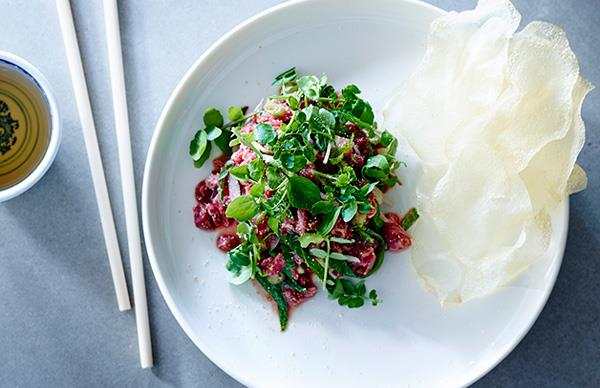 Beef tartare with herbs and nuoc cham