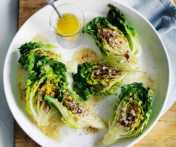 "**[Grilled cos with lemon-anchovy butter dressing](https://www.gourmettraveller.com.au/recipes/browse-all/grilled-cos-with-lemon-anchovy-butter-dressing-11611|target=""_blank"")**"