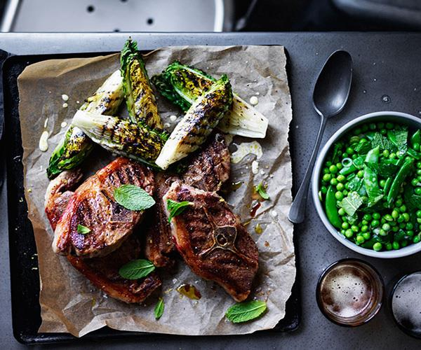 """[**Barnsley chops with charred lettuce and peas**](https://www.gourmettraveller.com.au/recipes/browse-all/barnsley-chops-with-charred-lettuce-and-peas-12422