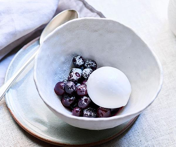 "**[Dave Verheul's coconut sorbet, blueberries and rosemary](https://www.gourmettraveller.com.au/recipes/chefs-recipes/coconut-sorbet-blueberries-and-rosemary-8643|target=""_blank"")**"