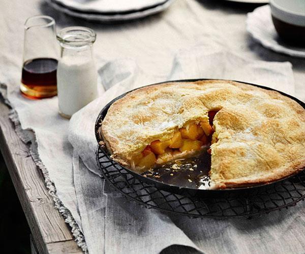 Sugar-crusted peach pie with almond cream