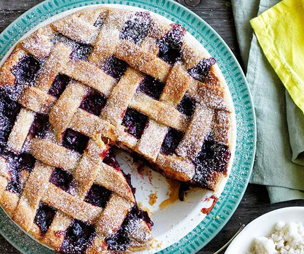 "**[Cherry lattice pie with almond-milk ice](https://www.gourmettraveller.com.au/recipes/browse-all/cherry-lattice-pie-with-almond-milk-ice-11825|target=""_blank"")**"