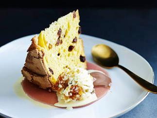 Peachy panettone with cassata ice-cream