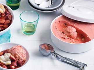 Curtis Stone's no-churn strawberry and créme fraîche ice-cream with caramelised macadamia nuts