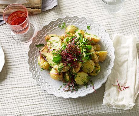 Potato salad with green mayonnaise